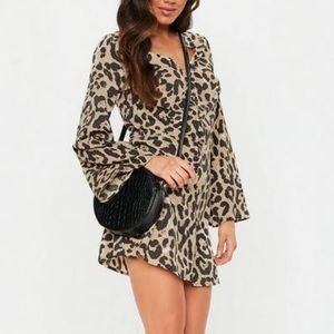 Missguided Button Down Leopard Skater Dress 4 NWT